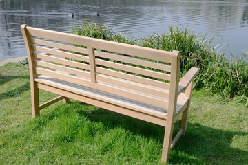 Wooden Bench on waterside