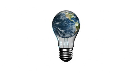 Light bulb with revolving earth