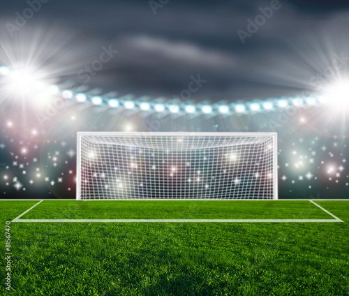 Soccer ball on green stadium arena - 81567470
