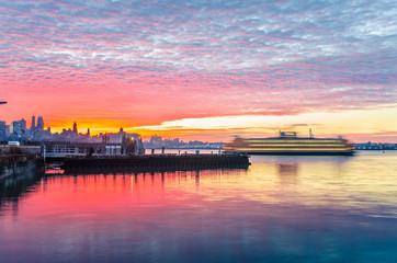 Dramatic Sunrise over Lower Manhattan Docks