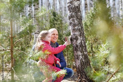 family in wood collecting birch sap mug - 81567848