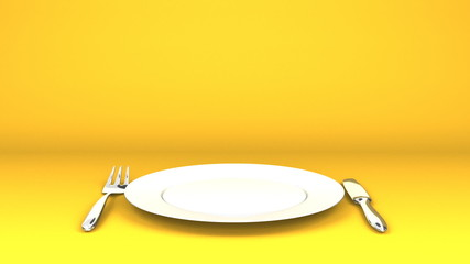 Cutlery And Dish On Yellow Text Space