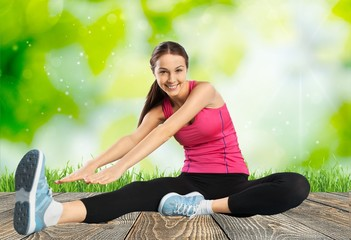 Weight. Sport and lifestyle concept - woman doing sports