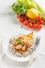 salmon with onions, carrots, celery, basmati and wild rice