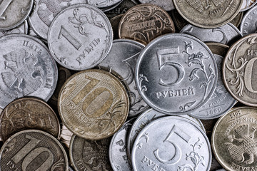 Heap of russian coins