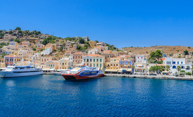 The capital of the island of Symi - Ano Symi. Greece