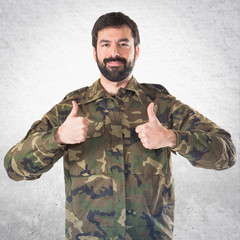 Soldier with thumb up