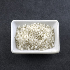 Sea salt in bowl on the table