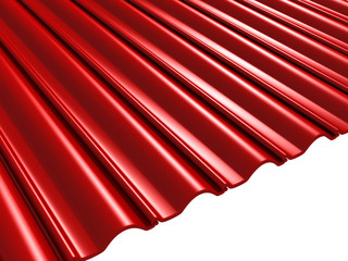 Red Roof Tiles On White Background