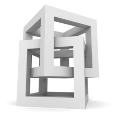 Abstract White Cube Structure Object