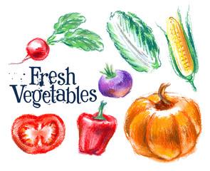 vegetables vector logo design template. fresh food or harvest