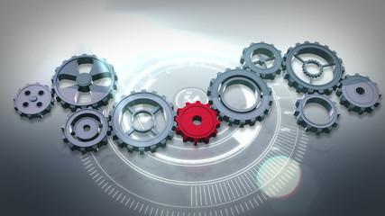 Cogs and wheels turning against interface
