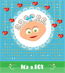Romantic, funny, dotted, blue, baby shower, card with text Its a