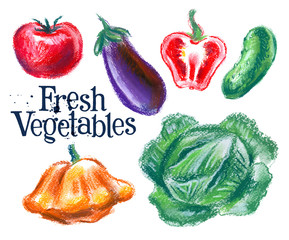 fresh vegetables vector logo design template.  food or harvest