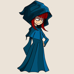 cartoon girl in a raincoat with a hood