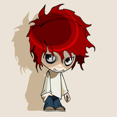 cartoon redhead humble boy