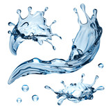 3d water splash illustration, isolated liquid design elements