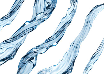 3d water jets set, clear liquid isolated on white background