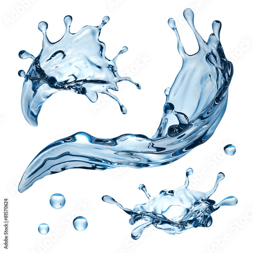 3d water splash illustration, isolated liquid design elements - 81570624
