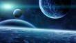 Leinwandbild Motiv Sunrise over planets in space