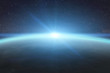 Leinwanddruck Bild - Sunrise over planet Earth in space