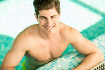 Young man in the pool