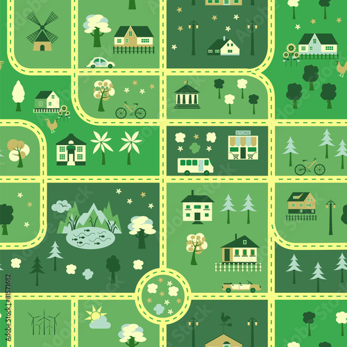 Foto op Aluminium Op straat City map seamless pattern