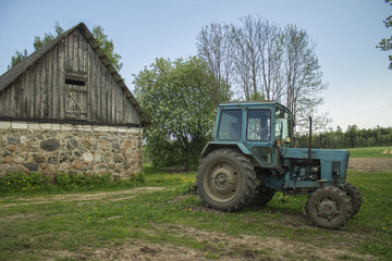 Tractor on the farm agricultural equipment