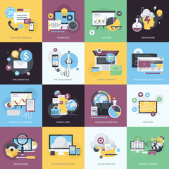 Flat design icons for web development, business, marketing