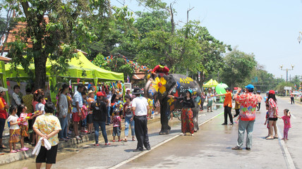 Songkran Festival traditional of thai in Ayutthaya, Thailand.