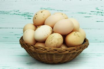 wiejskie jajka w koszyku
