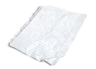 Lined Paper. Notebook Paper Wrinkled - Wide Rule (100% View)