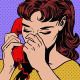 woman speaks on the phone pop art comics retro style Halftone