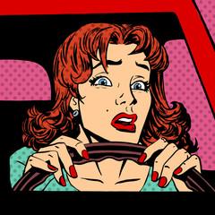 Inexperienced woman driver car accident pop art comics retro sty