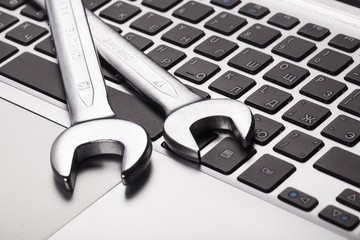 Toolkit. Electronic technical support concept - spanners on
