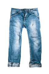 Old blue jeans on white background