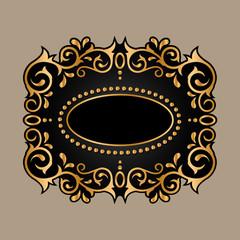 black frame with golden ornament