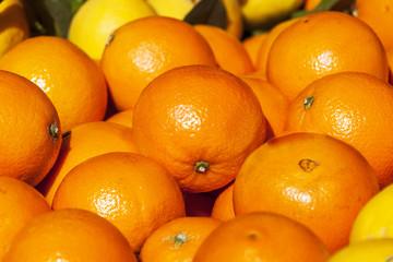 Fresh ripe oranges on a market counter