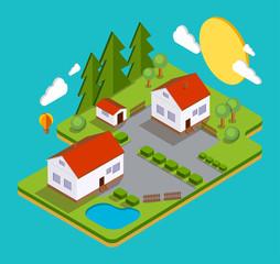 Color vector flat illustration village landscape