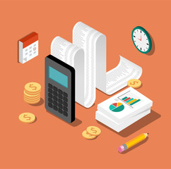 Flat 3d isometric design concepts for business and finance