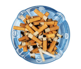 Cigarette butts in the ashtray isolated on white