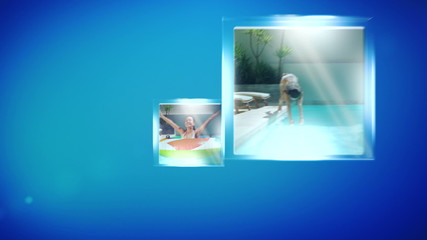 Montage of woman in swimming pool