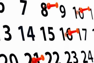 Calendar. Blue calendar page close up