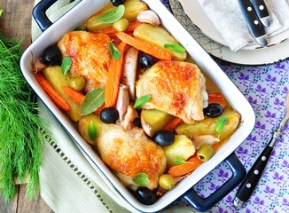 Roasted chiken legs with vegetables and olives