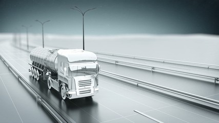 Monochrome gas truck on a highway front view looping animation