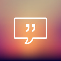 Speech bubble with punctuation symbol thin line icon