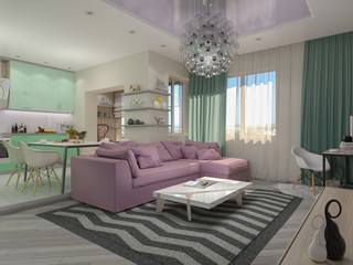 3d illustration of small apartments in pastel colors. Green mode