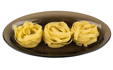 Pasta form nest in black dish