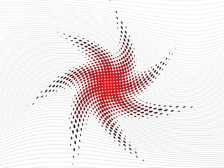 Abstract twisted red halftone star
