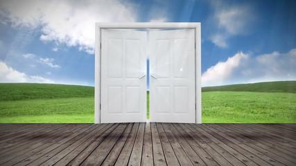 Door opening to green meadow